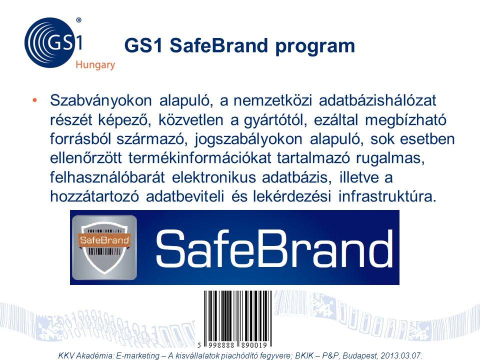 © 2012 GS1 Driving Momentum Together GS1 SafeBrand program •Szabványokon alapuló, a nemzetközi adatbázishálózat részét képező, közvetlen a gyártótól,