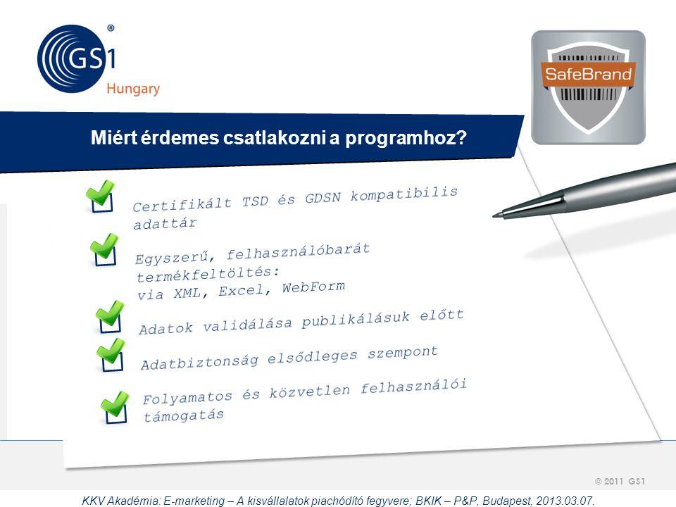 © 2012 GS1 Driving Momentum Together © 2011 GS1     Miért érdemes csatlakozni a programhoz? KKV Akadémia: E-marketing – A kisvállalatok piachódító