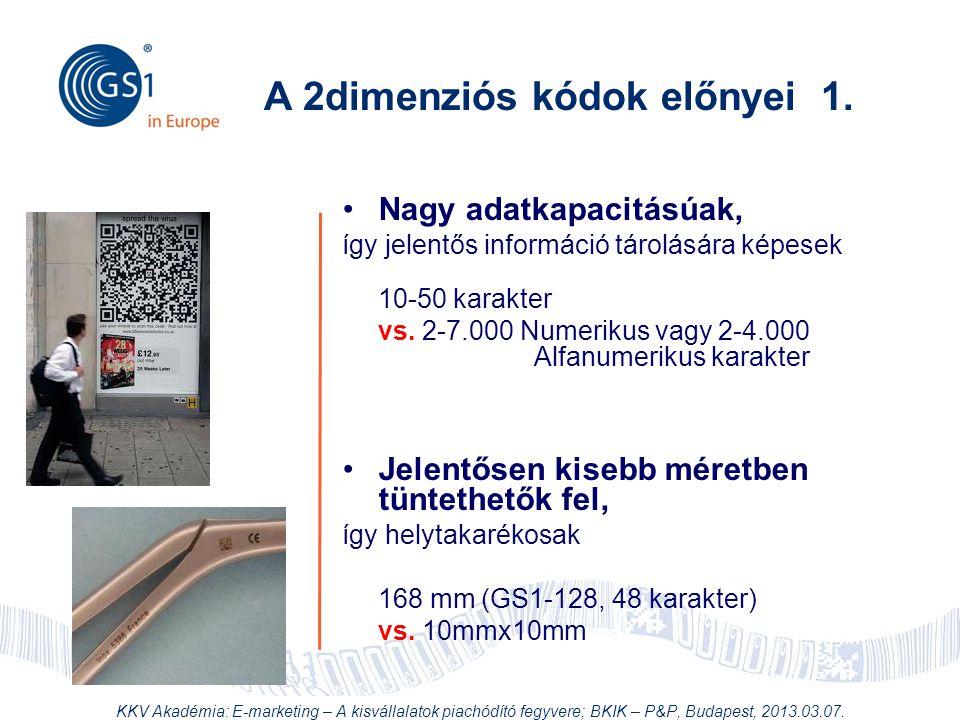 © 2012 GS1 Driving Momentum Together •Nagy adatkapacitásúak, így jelentős információ tárolására képesek 10-50 karakter vs. 2-7.000 Numerikus vagy 2-4.