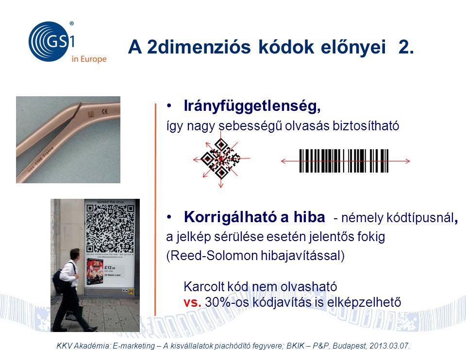 © 2012 GS1 Driving Momentum Together •Irányfüggetlenség, így nagy sebességű olvasás biztosítható •Korrigálható a hiba - némely kódtípusnál, a jelkép s