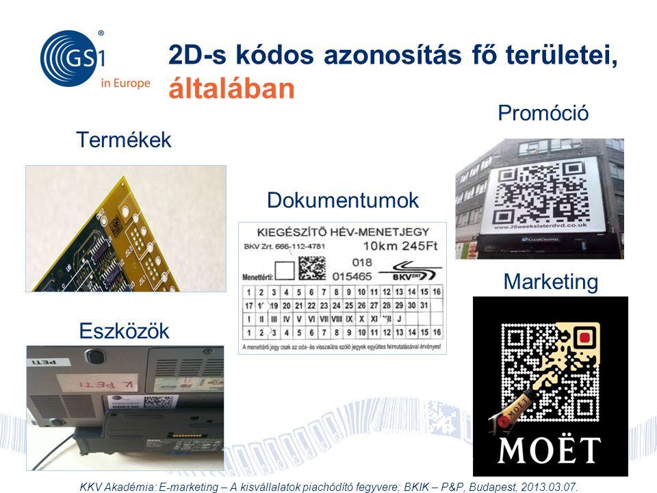 © 2012 GS1 Driving Momentum Together 2D-s kódos azonosítás fő területei, általában Termékek Dokumentumok Eszközök Marketing Promóció KKV Akadémia: E-m
