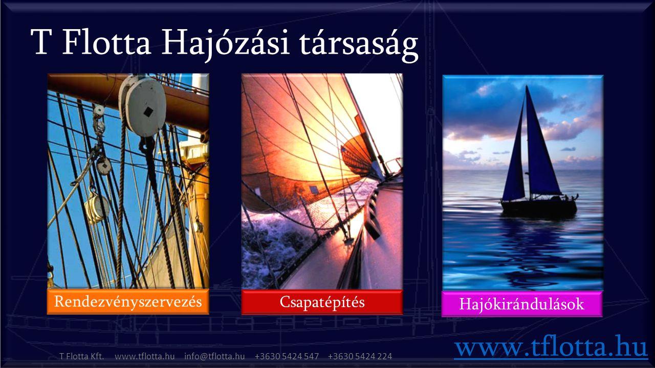 www.tflotta.hu Rendezvényszervezés Csapatépítés Hajókirándulások T Flotta Kft.