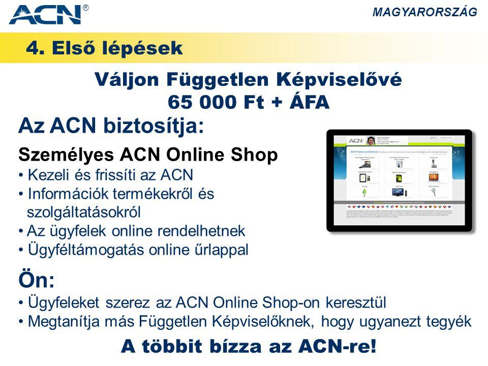 4. Első lépések MAGYARORSZÁG Az ACN biztosítja: Személyes ACN Online Shop • Kezeli és frissíti az ACN • Információk termékekről és szolgáltatásokról •