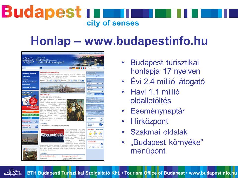 Honlap – www.budapestinfo.hu •Budapest turisztikai honlapja 17 nyelven •Évi 2,4 millió látogató •Havi 1,1 millió oldalletöltés •Eseménynaptár •Hírközp