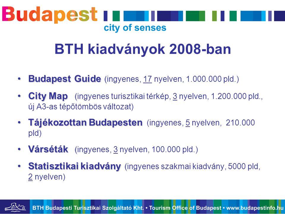 BTH kiadványok 2008-ban •Budapest Guide ( •Budapest Guide (ingyenes, 17 nyelven, 1.000.000 pld.) •City Map ( •City Map (ingyenes turisztikai térkép, 3