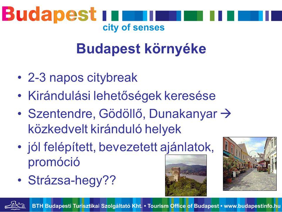 Budapest környéke •2-3 napos citybreak •Kirándulási lehetőségek keresése •Szentendre, Gödöllő, Dunakanyar  közkedvelt kiránduló helyek •jól felépítet