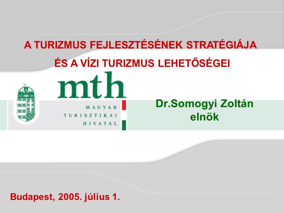 Dr.Somogyi Zoltán elnök Budapest, 2005. július 1. A TURIZMUS FEJLESZTÉSÉNEK STRATÉGIÁJA ÉS A VÍZI TURIZMUS LEHETŐSÉGEI