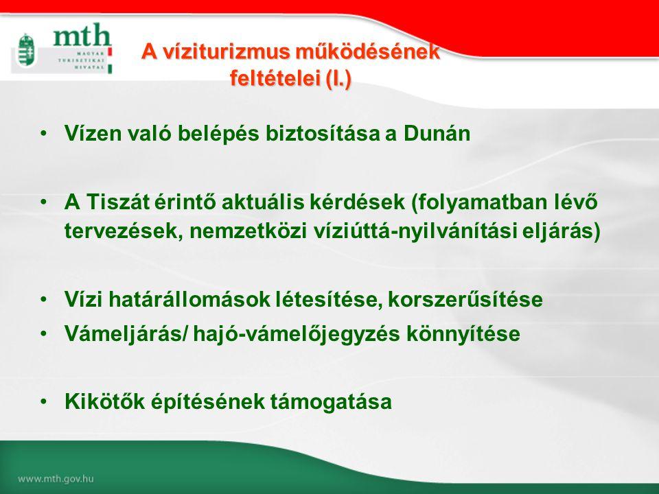 •Vízen való belépés biztosítása a Dunán •A Tiszát érintő aktuális kérdések (folyamatban lévő tervezések, nemzetközi víziúttá-nyilvánítási eljárás) •Ví