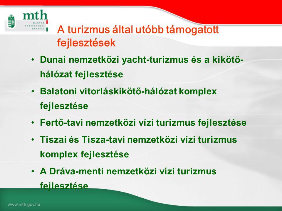 •Dunai nemzetközi yacht-turizmus és a kikötő- hálózat fejlesztése •Balatoni vitorláskikötő-hálózat komplex fejlesztése •Fertő-tavi nemzetközi vízi turizmus fejlesztése •Tiszai és Tisza-tavi nemzetközi vízi turizmus komplex fejlesztése •A Dráva-menti nemzetközi vízi turizmus fejlesztése A turizmus által utóbb támogatott fejlesztések
