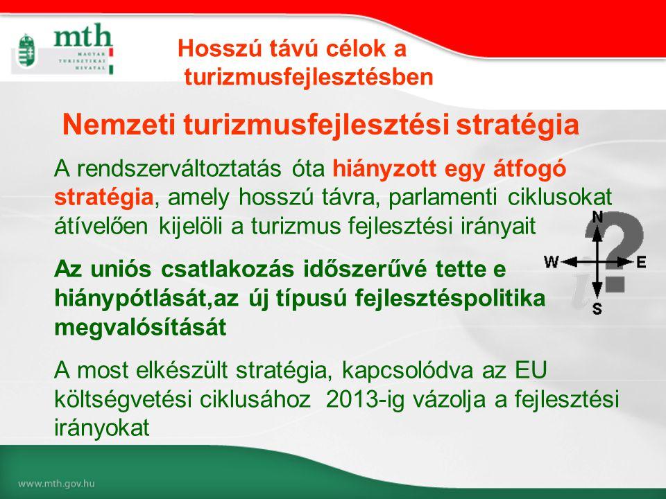A rendszerváltoztatás óta hiányzott egy átfogó stratégia, amely hosszú távra, parlamenti ciklusokat átívelően kijelöli a turizmus fejlesztési irányait Az uniós csatlakozás időszerűvé tette e hiánypótlását,az új típusú fejlesztéspolitika megvalósítását A most elkészült stratégia, kapcsolódva az EU költségvetési ciklusához 2013-ig vázolja a fejlesztési irányokat Nemzeti turizmusfejlesztési stratégia Hosszú távú célok a turizmusfejlesztésben