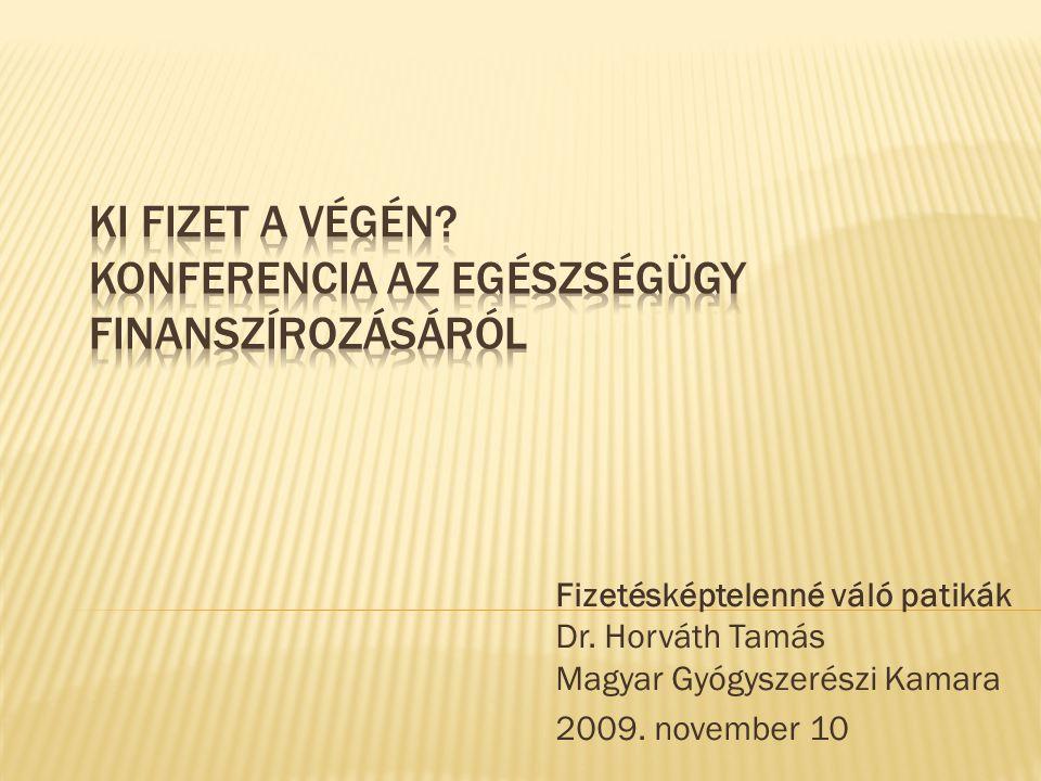 Fizetésképtelenné váló patikák Dr. Horváth Tamás Magyar Gyógyszerészi Kamara 2009. november 10