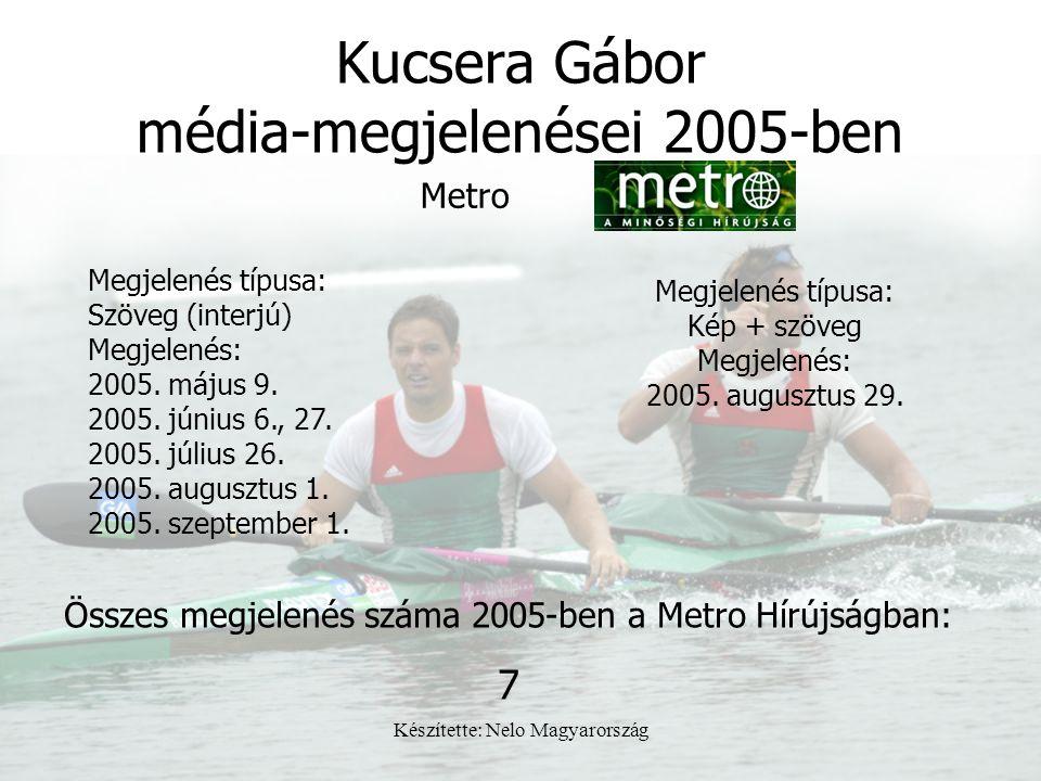 Készítette: Nelo Magyarország Kucsera Gábor média-megjelenései 2005-ben Megjelenés típusa: Szöveg (interjú) Megjelenés: 2005. május 9. 2005. június 6.