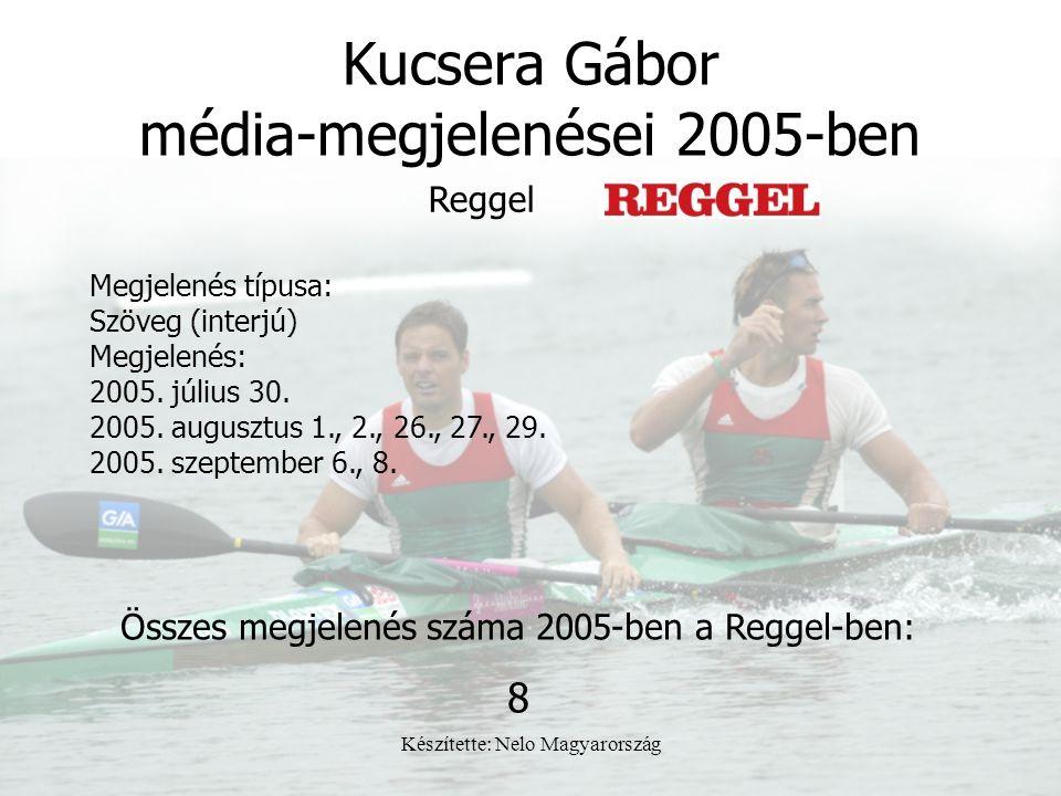 Készítette: Nelo Magyarország Kucsera Gábor média-megjelenései 2005-ben Megjelenés típusa: Szöveg (interjú) Megjelenés: 2005. július 30. 2005. auguszt