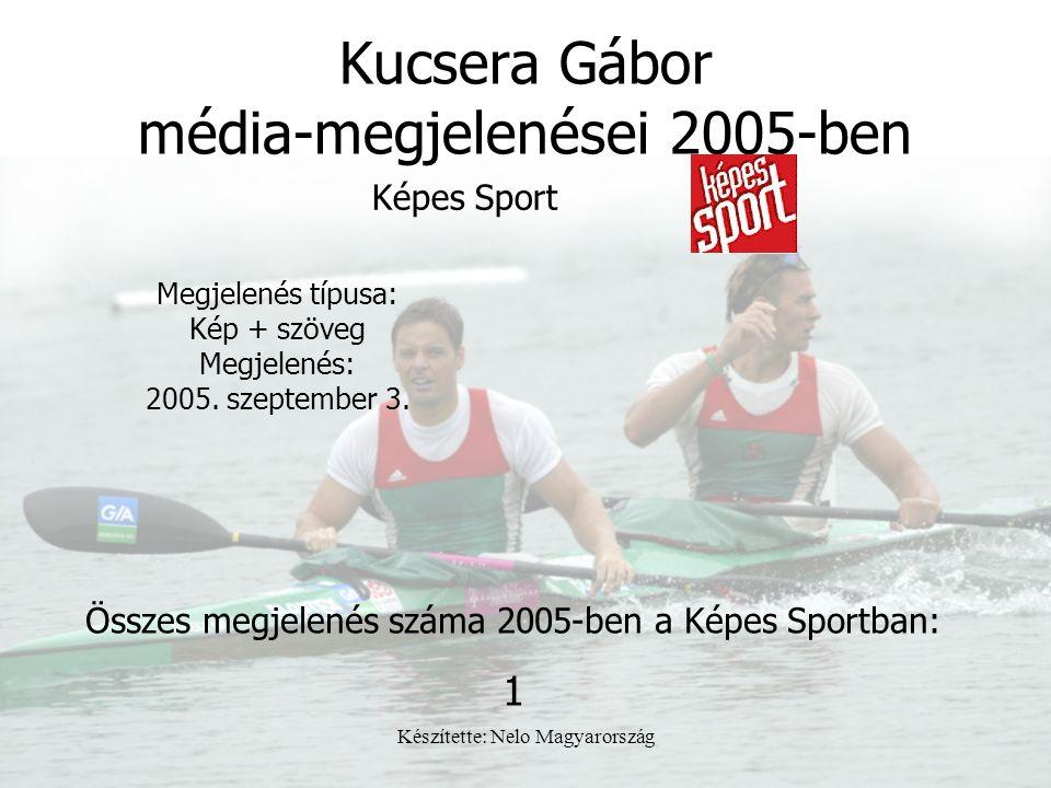 Készítette: Nelo Magyarország Kucsera Gábor média-megjelenései 2005-ben Képes Sport Megjelenés típusa: Kép + szöveg Megjelenés: 2005. szeptember 3. Ös