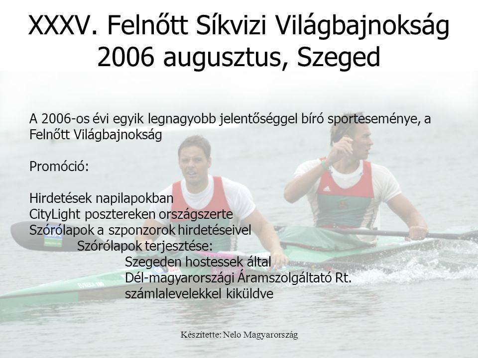 Készítette: Nelo Magyarország XXXV. Felnőtt Síkvizi Világbajnokság 2006 augusztus, Szeged A 2006-os évi egyik legnagyobb jelentőséggel bíró sportesemé