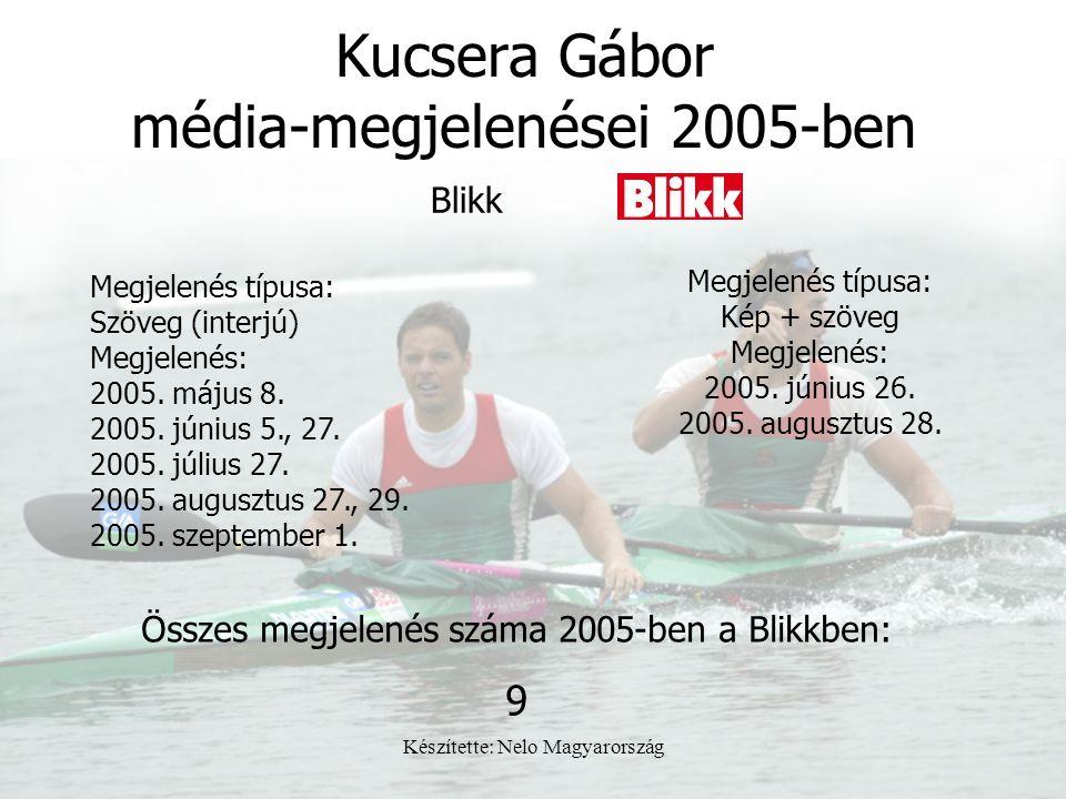 Készítette: Nelo Magyarország Kucsera Gábor média-megjelenései 2005-ben Megjelenés típusa: Szöveg (interjú) Megjelenés: 2005. május 8. 2005. június 5.