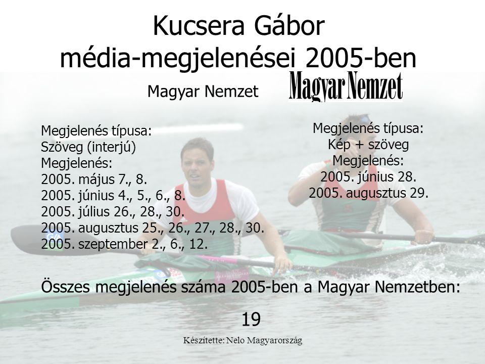Készítette: Nelo Magyarország Kucsera Gábor média-megjelenései 2005-ben Megjelenés típusa: Szöveg (interjú) Megjelenés: 2005. május 7., 8. 2005. júniu