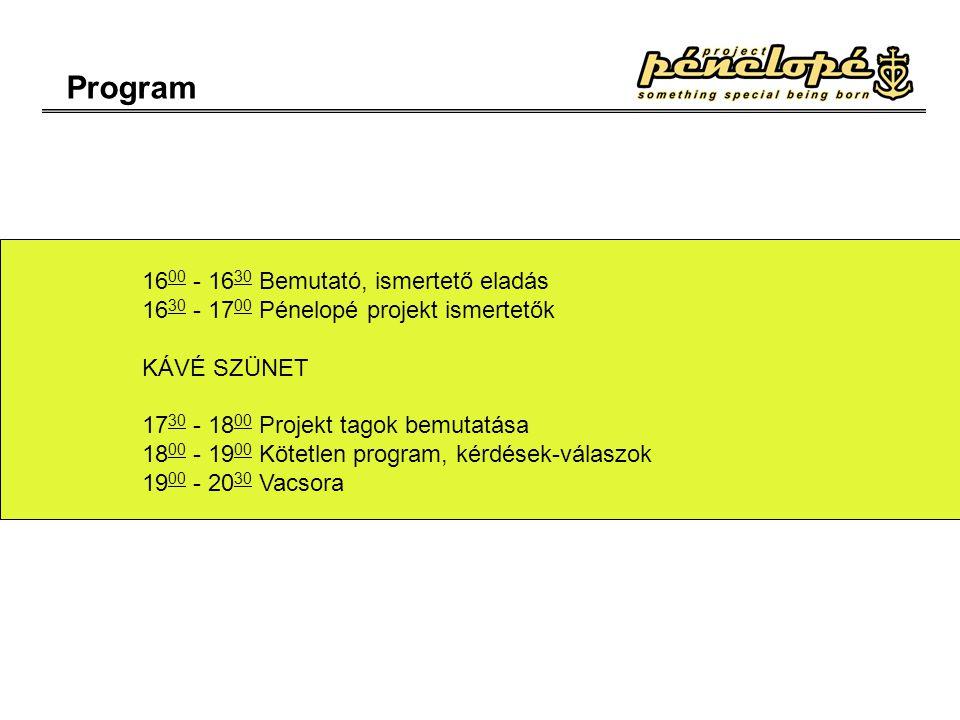 Program 16 00 - 16 30 Bemutató, ismertető eladás 16 30 - 17 00 Pénelopé projekt ismertetők KÁVÉ SZÜNET 17 30 - 18 00 Projekt tagok bemutatása 18 00 - 19 00 Kötetlen program, kérdések-válaszok 19 00 - 20 30 Vacsora