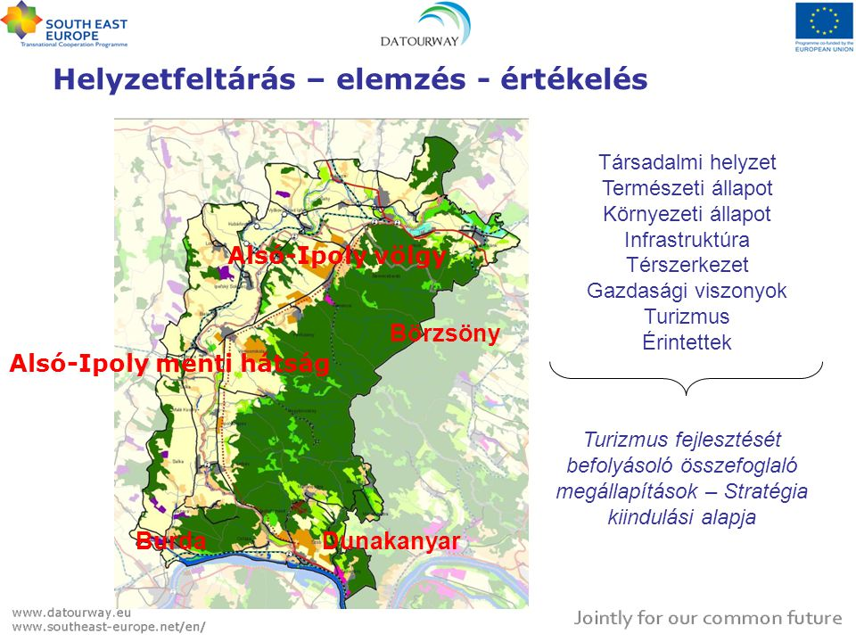 Helyzetfeltárás – elemzés - értékelés Alsó-Ipoly völgy Börzsöny Alsó-Ipoly menti hátság BurdaDunakanyar Társadalmi helyzet Természeti állapot Környezeti állapot Infrastruktúra Térszerkezet Gazdasági viszonyok Turizmus Érintettek Turizmus fejlesztését befolyásoló összefoglaló megállapítások – Stratégia kiindulási alapja