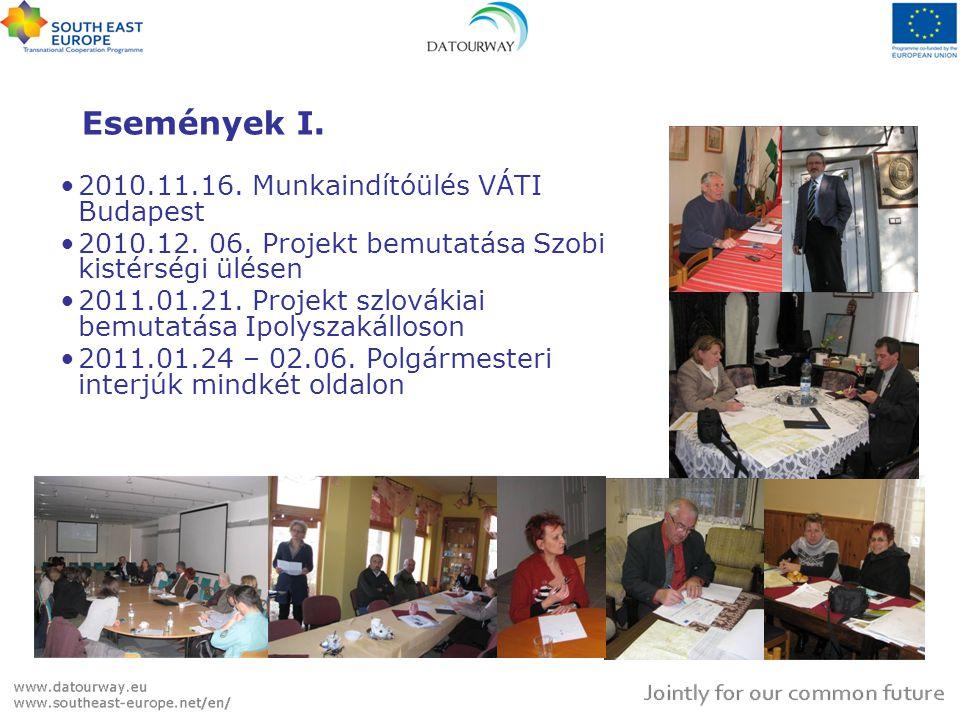 Események I. •2010.11.16. Munkaindítóülés VÁTI Budapest •2010.12.