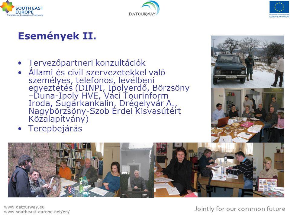 Események II. •Tervezőpartneri konzultációk •Állami és civil szervezetekkel való személyes, telefonos, levélbeni egyeztetés (DINPI, Ipolyerdő, Börzsön
