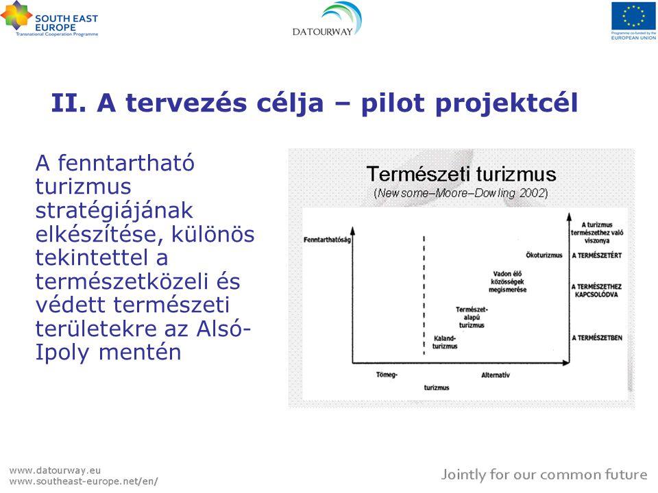 A PILOT PROJEKT CÉLRENDSZERE Átfogó cél A pilot projekt eredményeinek a Datourway közös nemzetközi stratégiába való illesztése  Pilot projekt cél Az Alsó-Ipoly mente fenntartható turisztikai stratégiájának elkészítése  Eredmények 1.Vizsgálat 2.Stratégia 3.Akcióterv (cselekvési terv) 4.Projektjavaslatok 5.Tervezési tanulságok 6.DTW stratégiába illesztés + adatbázis bővítés 7.Kiadvány  Tevékenységek Közös munkaterv, indikátorlista és tartalomjegyzék alapján meghatározott lépések