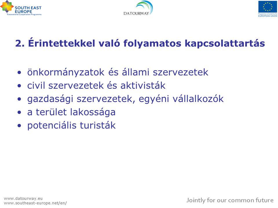 2. Érintettekkel való folyamatos kapcsolattartás •önkormányzatok és állami szervezetek •civil szervezetek és aktivisták •gazdasági szervezetek, egyéni