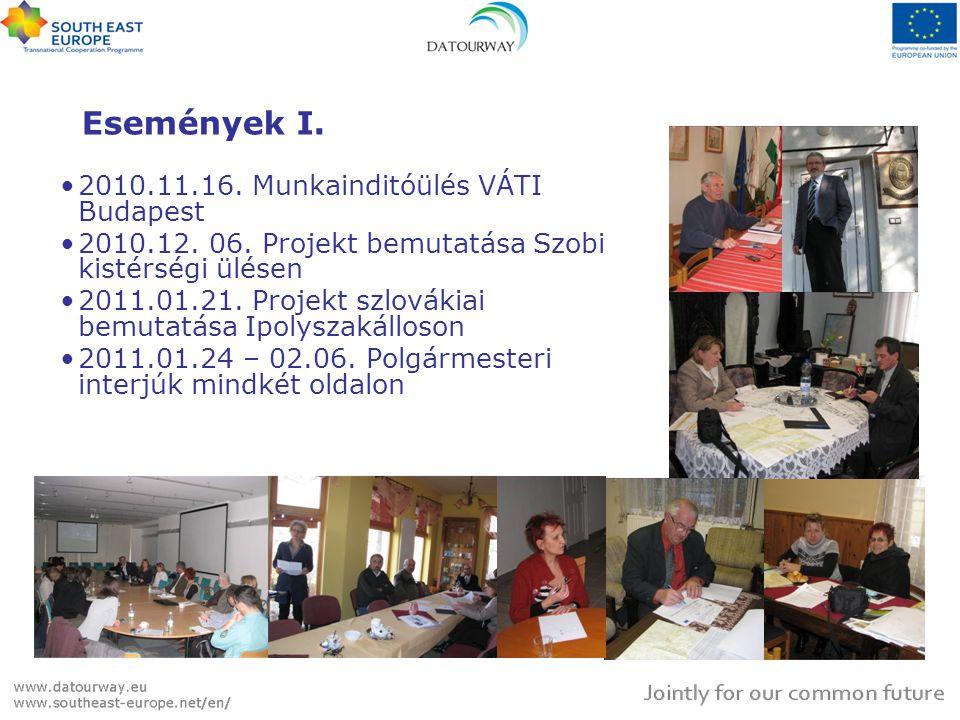 Események I. •2010.11.16. Munkainditóülés VÁTI Budapest •2010.12. 06. Projekt bemutatása Szobi kistérségi ülésen •2011.01.21. Projekt szlovákiai bemut