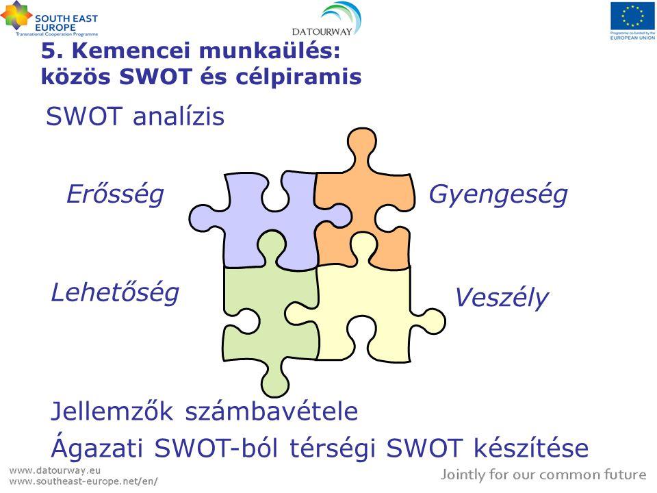 5. Kemencei munkaülés: közös SWOT és célpiramis ErősségGyengeség SWOT analízis Lehetőség Veszély Jellemzők számbavétele Ágazati SWOT-ból térségi SWOT
