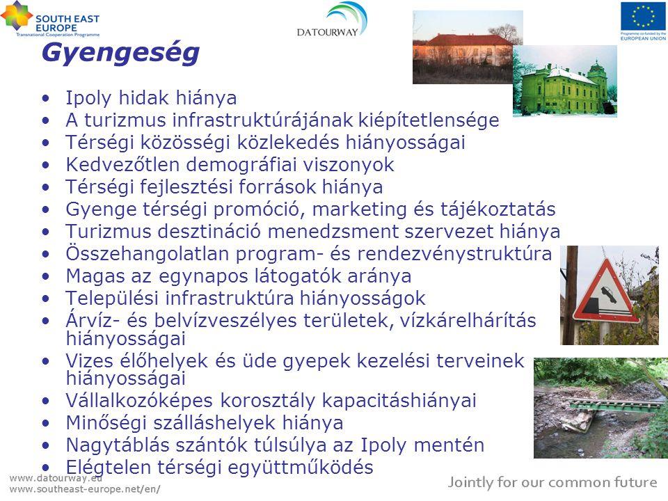 Gyengeség •Ipoly hidak hiánya •A turizmus infrastruktúrájának kiépítetlensége •Térségi közösségi közlekedés hiányosságai •Kedvezőtlen demográfiai visz