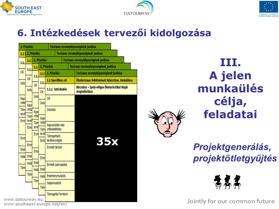 6. Intézkedések tervezői kidolgozása 35x III. A jelen munkaülés célja, feladatai Projektgenerálás, projektötletgyűjtés