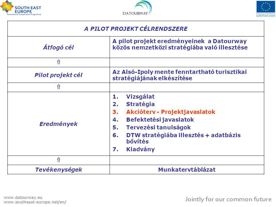 A PILOT PROJEKT CÉLRENDSZERE Átfogó cél A pilot projekt eredményeinek a Datourway közös nemzetközi stratégiába való illesztése  Pilot projekt cél Az