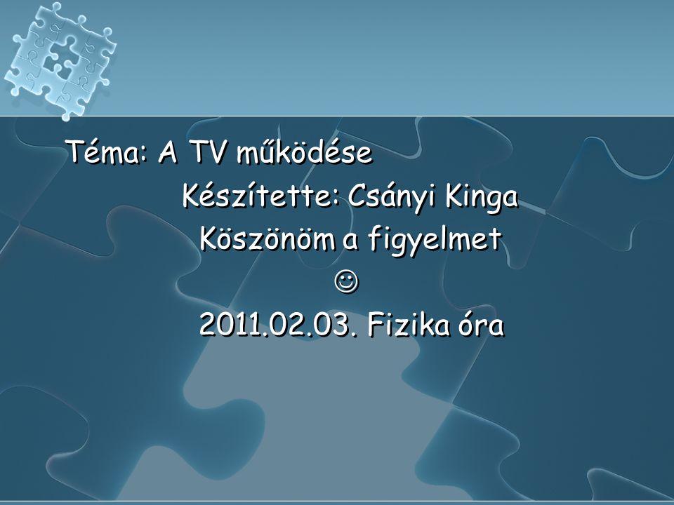 Téma: A TV működése Készítette: Csányi Kinga Köszönöm a figyelmet  2011.02.03. Fizika óra Téma: A TV működése Készítette: Csányi Kinga Köszönöm a fig