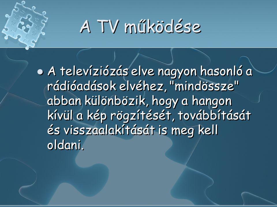 A TV működése  A televíziózás elve nagyon hasonló a rádióadások elvéhez, mindössze abban különbözik, hogy a hangon kívül a kép rögzítését, továbbítását és visszaalakítását is meg kell oldani.