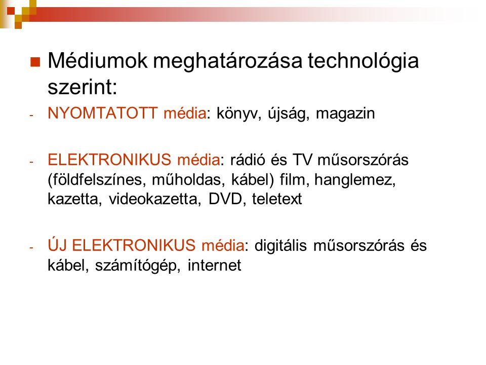  Médiumok meghatározása technológia szerint: - NYOMTATOTT média: könyv, újság, magazin - ELEKTRONIKUS média: rádió és TV műsorszórás (földfelszínes,