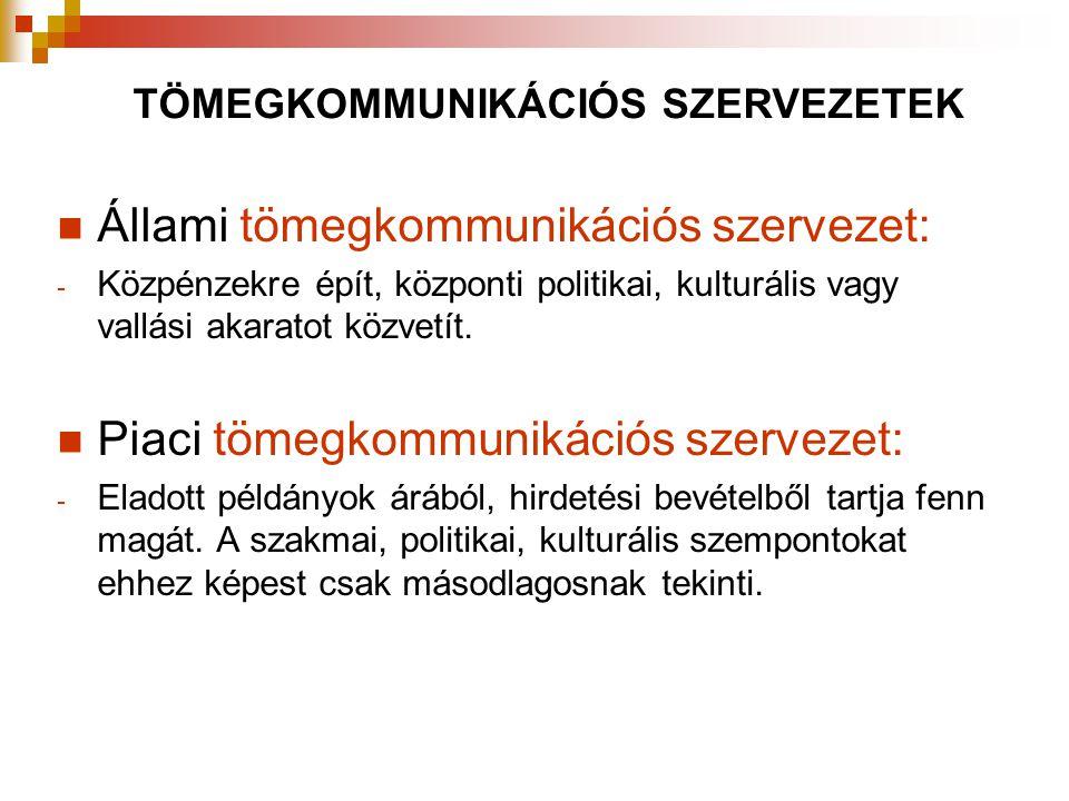  Állami tömegkommunikációs szervezet: - Közpénzekre épít, központi politikai, kulturális vagy vallási akaratot közvetít.  Piaci tömegkommunikációs s