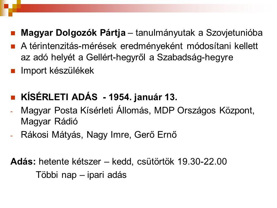  Magyar Dolgozók Pártja – tanulmányutak a Szovjetunióba  A térintenzitás-mérések eredményeként módosítani kellett az adó helyét a Gellért-hegyről a