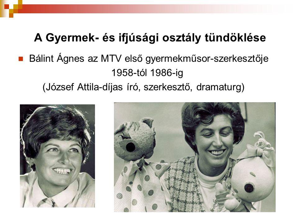 A Gyermek- és ifjúsági osztály tündöklése  Bálint Ágnes az MTV első gyermekműsor-szerkesztője 1958-tól 1986-ig (József Attila-díjas író, szerkesztő,