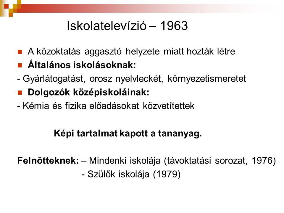 Iskolatelevízió – 1963  A közoktatás aggasztó helyzete miatt hozták létre  Általános iskolásoknak: - Gyárlátogatást, orosz nyelvleckét, környezetism