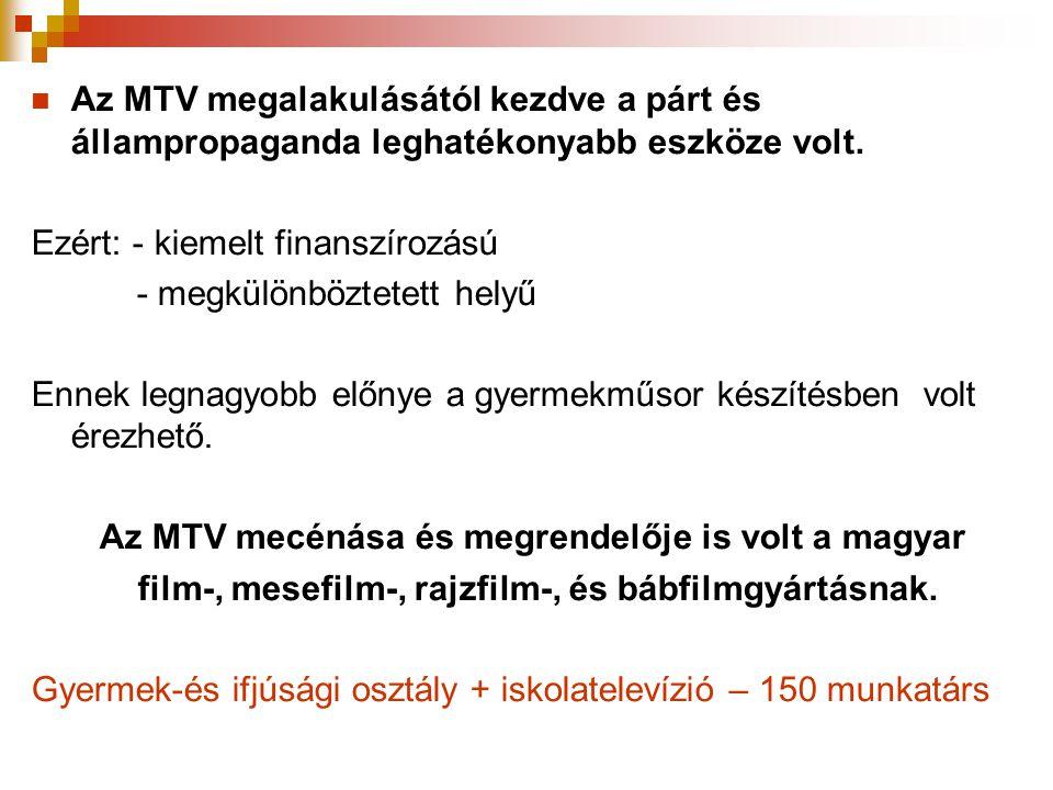  Az MTV megalakulásától kezdve a párt és állampropaganda leghatékonyabb eszköze volt. Ezért: - kiemelt finanszírozású - megkülönböztetett helyű Ennek