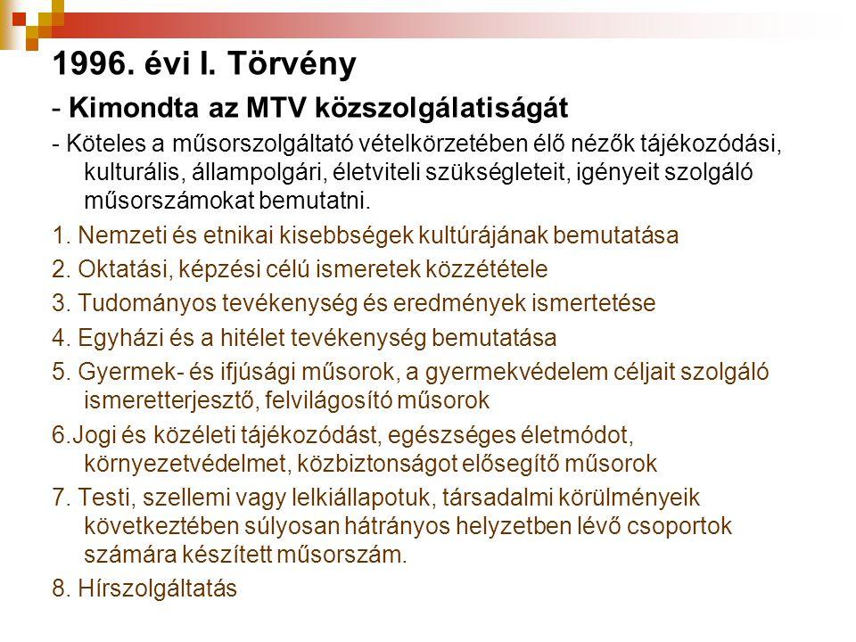 1996. évi I. Törvény - Kimondta az MTV közszolgálatiságát - Köteles a műsorszolgáltató vételkörzetében élő nézők tájékozódási, kulturális, állampolgár