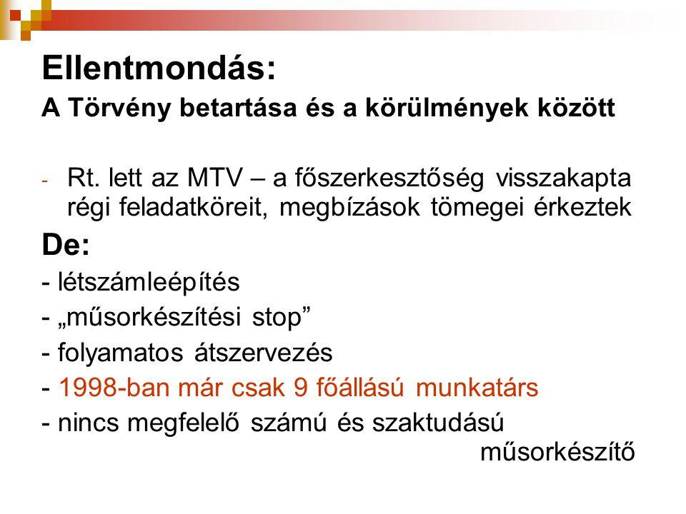 Ellentmondás: A Törvény betartása és a körülmények között - Rt. lett az MTV – a főszerkesztőség visszakapta régi feladatköreit, megbízások tömegei érk