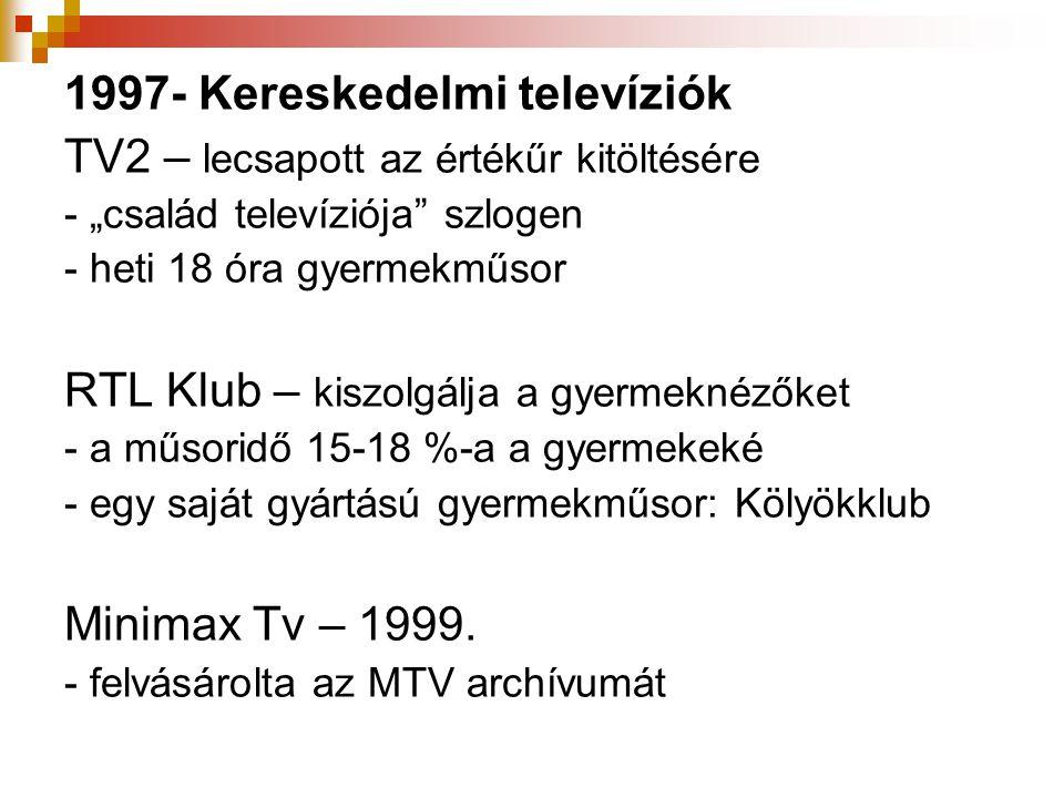 """1997- Kereskedelmi televíziók TV2 – lecsapott az értékűr kitöltésére - """"család televíziója"""" szlogen - heti 18 óra gyermekműsor RTL Klub – kiszolgálja"""