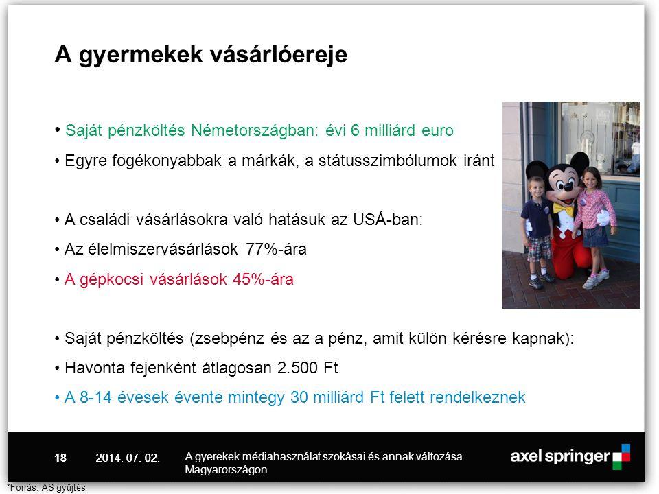 2014. 07. 02.18 A gyermekek vásárlóereje • Saját pénzköltés Németországban: évi 6 milliárd euro • Egyre fogékonyabbak a márkák, a státusszimbólumok ir