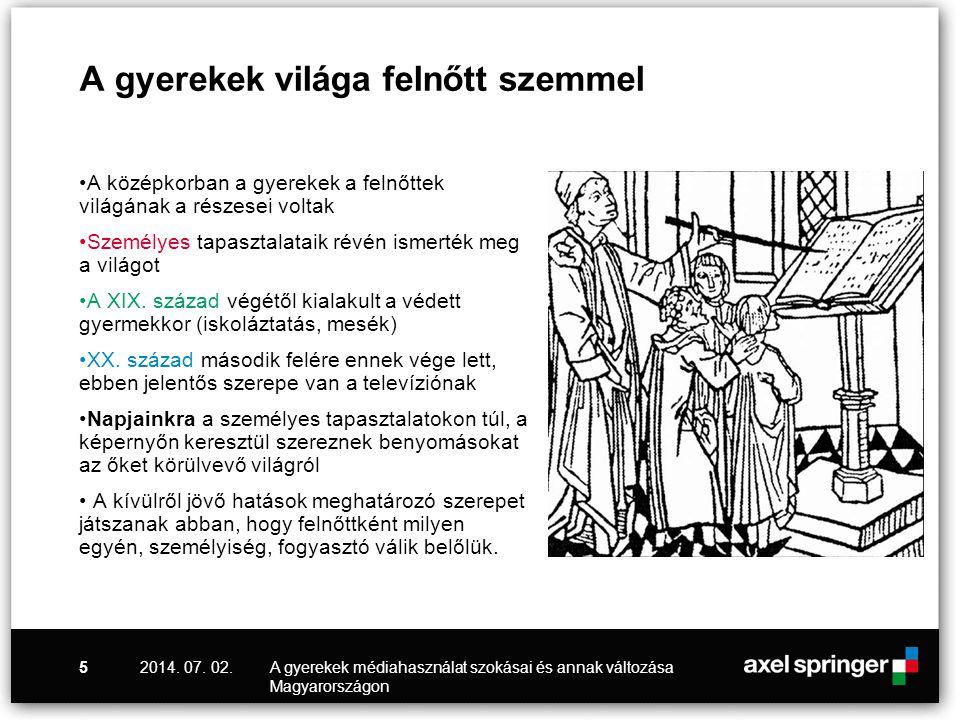 2014. 07. 02.A gyerekek médiahasználat szokásai és annak változása Magyarországon 5 A gyerekek világa felnőtt szemmel •A középkorban a gyerekek a feln
