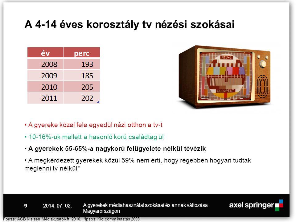 9 A 4-14 éves korosztály tv nézési szokásai • A gyereke közel fele egyedül nézi otthon a tv-t • 10-16%-uk mellett a hasonló korú családtag ül • A gyer