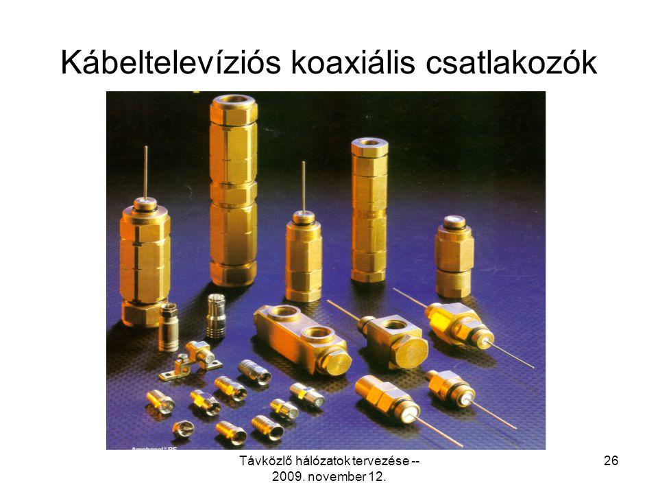 """Távközlő hálózatok tervezése -- 2009. november 12. 25 Tipikus koaxiális kábelátmérők •0.242""""RG-59 0.625""""T10-625 •0.272""""RG-60.700""""TX10-700 •0.340""""RG-70"""