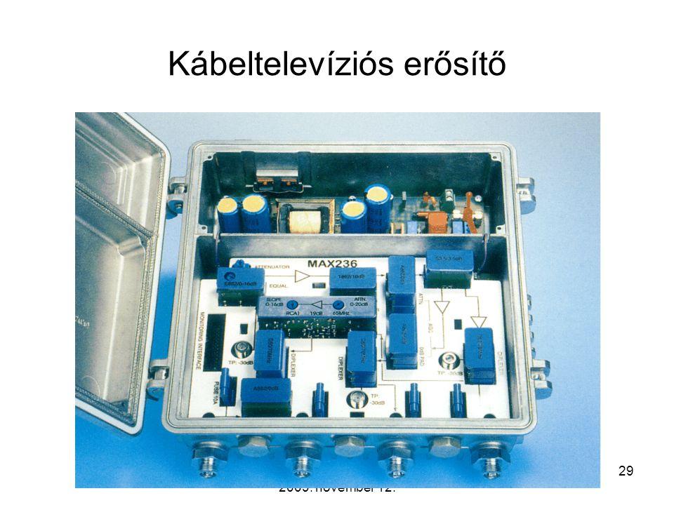 Távközlő hálózatok tervezése -- 2009. november 12. 28 A koaxiális kábel csillapítása