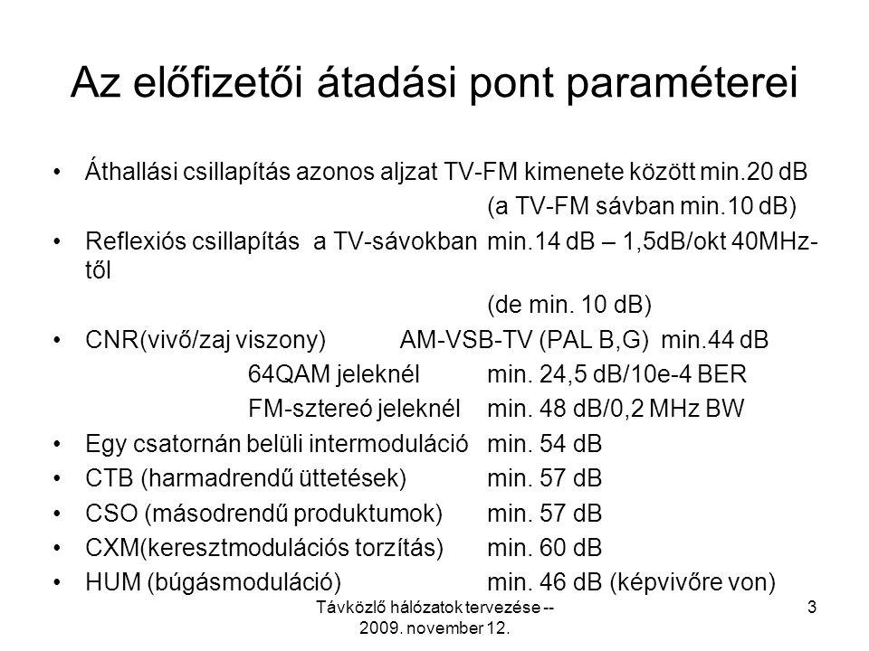 Távközlő hálózatok tervezése -- 2009. november 12. 2 Az előfizetői átadási pont paraméterei •Üzemi frekvenciasáv87,5 MHz…862 MHz 5,0 MHz…65,0 MHz •Has