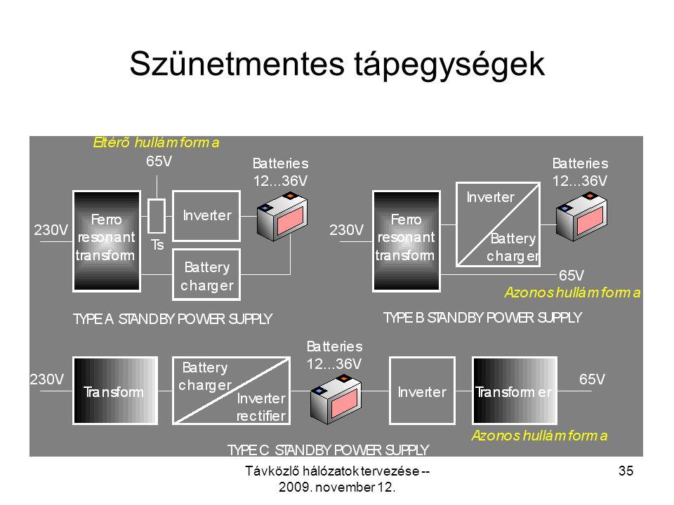 Távközlő hálózatok tervezése -- 2009. november 12. 34 Tipikus távtápláló tápegység